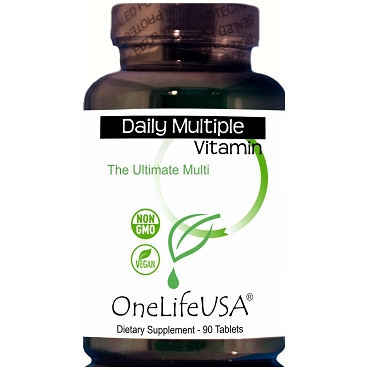 Daily Multiple Ultimate- Complete A-Z + Minerals, Herbal Immune Support, Whole Food Fruit & Veggie Blend.  Non-GMO, Vegan.